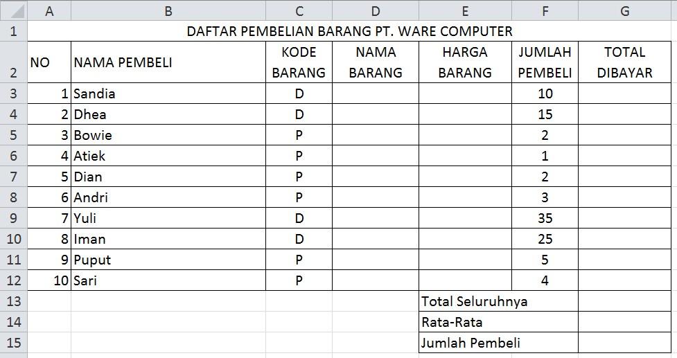 Latihan Praktek Excel 5 Menghitung Rumus Fungsi If Advanced Lanjutan Tik Online Smpn 6